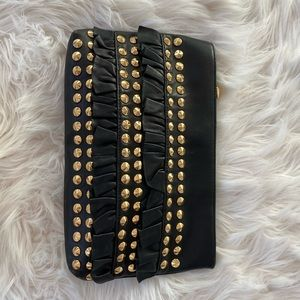 Betsey Johnson Faux Black Leather Clutch